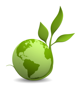 A green globe of the world with a plant wrapped around it. ACHS eco policy symbol.